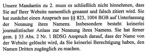 Faksimile aus dem Anwaltsschreiben von BIRD & BIRD