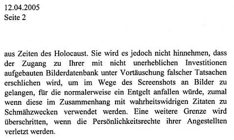 Faksimile aus dem Schreiben von BIRD & BIRD zum Thema HOLOCAUST im Auftrag der DIZ München GmbH