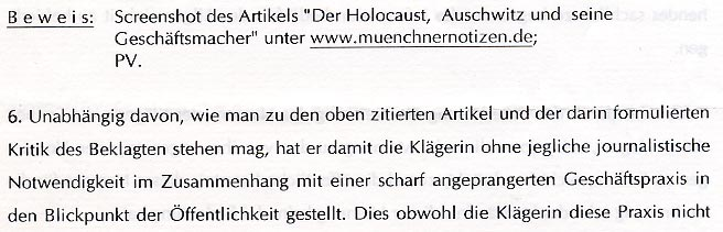Faksimile aus der Klage - Dr. Charim bezeichnet Ausdrucke von dergloeckel.info als Screenshot von muenchnernotizen.de und was den Satz: Unabhängig davon, wie man zu den oben zitierten Artikel und der darin formulierten Kritik des Beklagten stehen mag ... . anzumerken ist, sollte der inhaltlich bedeutende Beschluß des OBERSTEN GERICHTSHOFES zu den falschen Holocaust-Fotos und dem Sachverhalt als ausreichend anzusehen sein