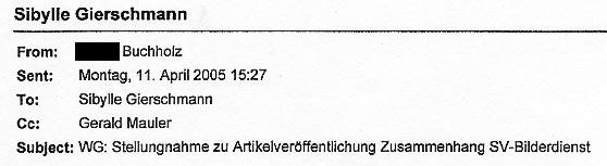 Faksimile aus einem dem Gericht durch die DIZ München vorgelegten Beweismittels. Ein als firmeninternes Dokument anzusehendes Schriftstück der Klägerin - die Korrespondenz zwischen der jetzigen Klägerin der Juristin Gierschmann sowie dem GF Mauler