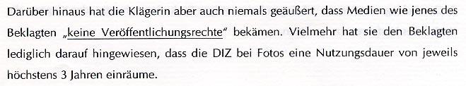 Faksimile aus der Klage von Charim, Steiner & Hofstetter gegen Journalist Glöckel zu der Aussage der Klägerin, daß das Magazin keine Verwendungsrechte erhält