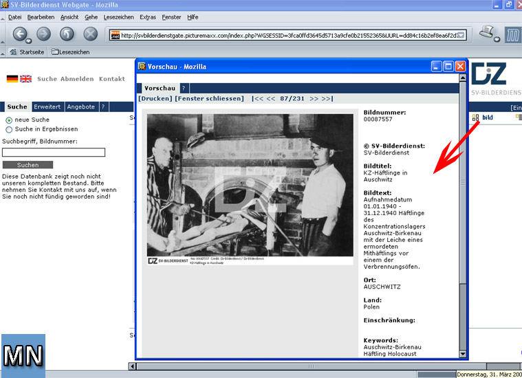 Screenshot vom 31.3.05 SV-Bilderdienst - DIZ München GmbH - Mediengruppe Süddeutscher Verlag